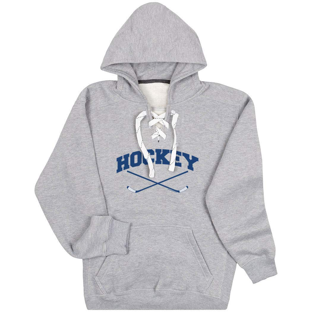 Hockey Sport Lace Sweatshirt | Hockey Crossed Sticks Logo |...