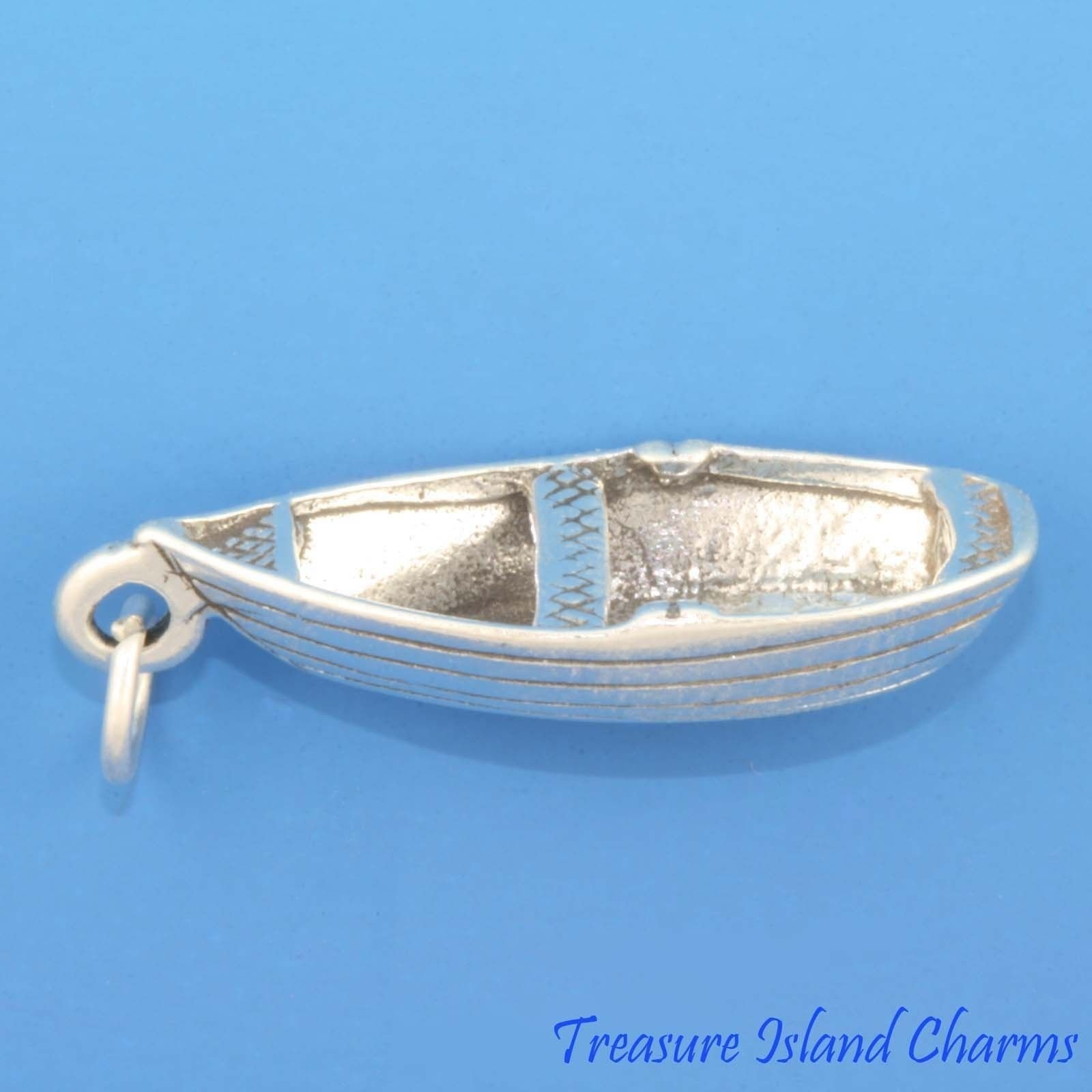 Row Boat Rowboat 3D .925 Solid Sterling Silver Charm Pendant Fishing Lake Beach Ideal Gifts, Pendant, Charms, DIY Crafting, Gift Set from Heart by Wholesale Charms by Wholesale Charms