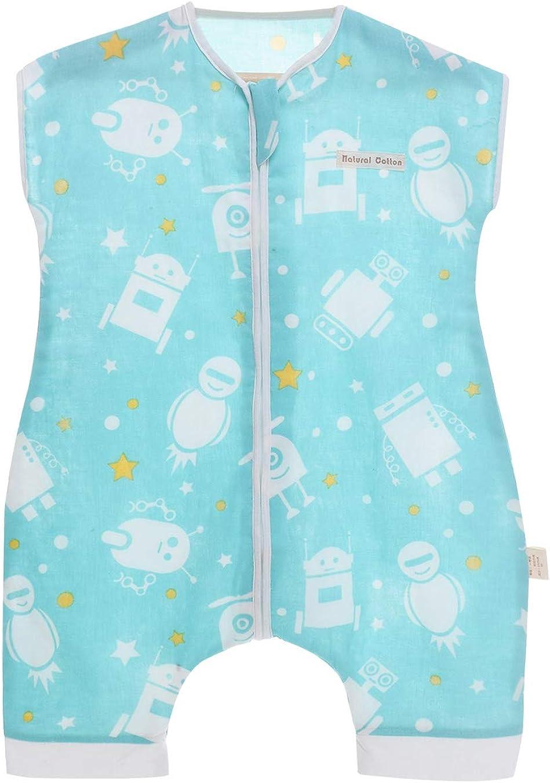 Happy Cherry Baby Sommer Schlafsack mit Beinen /Ärmellos Kinderschlafsack Baumwolle Musselin Schlafsack Unwattiert Schlafstrampler