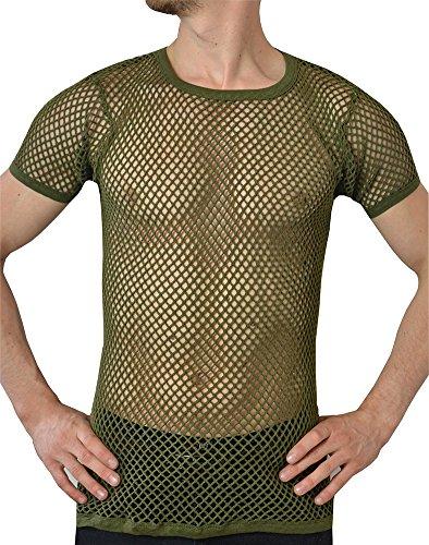 Manches Army Résille À Green Crystal Maille Filet 100 Courtes Coton shirt Homme T ZwUPqaz