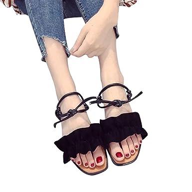 0340fc6a Sandalias Mujer Verano de Tacón Alto Plataforma Cuñas Zapatos con Hebilla  Correa de Tobillo Chancletas Negro Caqui Verde 35-40 Zapatos con Cordones  para ...