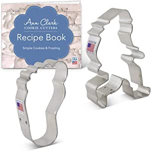 Ann Clark Cookie Cutters 2-Piece Bigfoot/Sasquatch Cookie Cutter Set with Recipe Booklet, Bigfoot, Foot