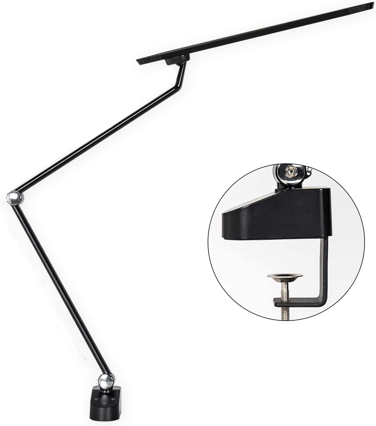 Amico 11W LED Architect Desk Lamp Adjustable Clamp Lamp Metal Swing Arm Task Lamp with clamp, Eye-Protective Touch Control Gradural Dimming for Office Craft Studio Workbench Architect
