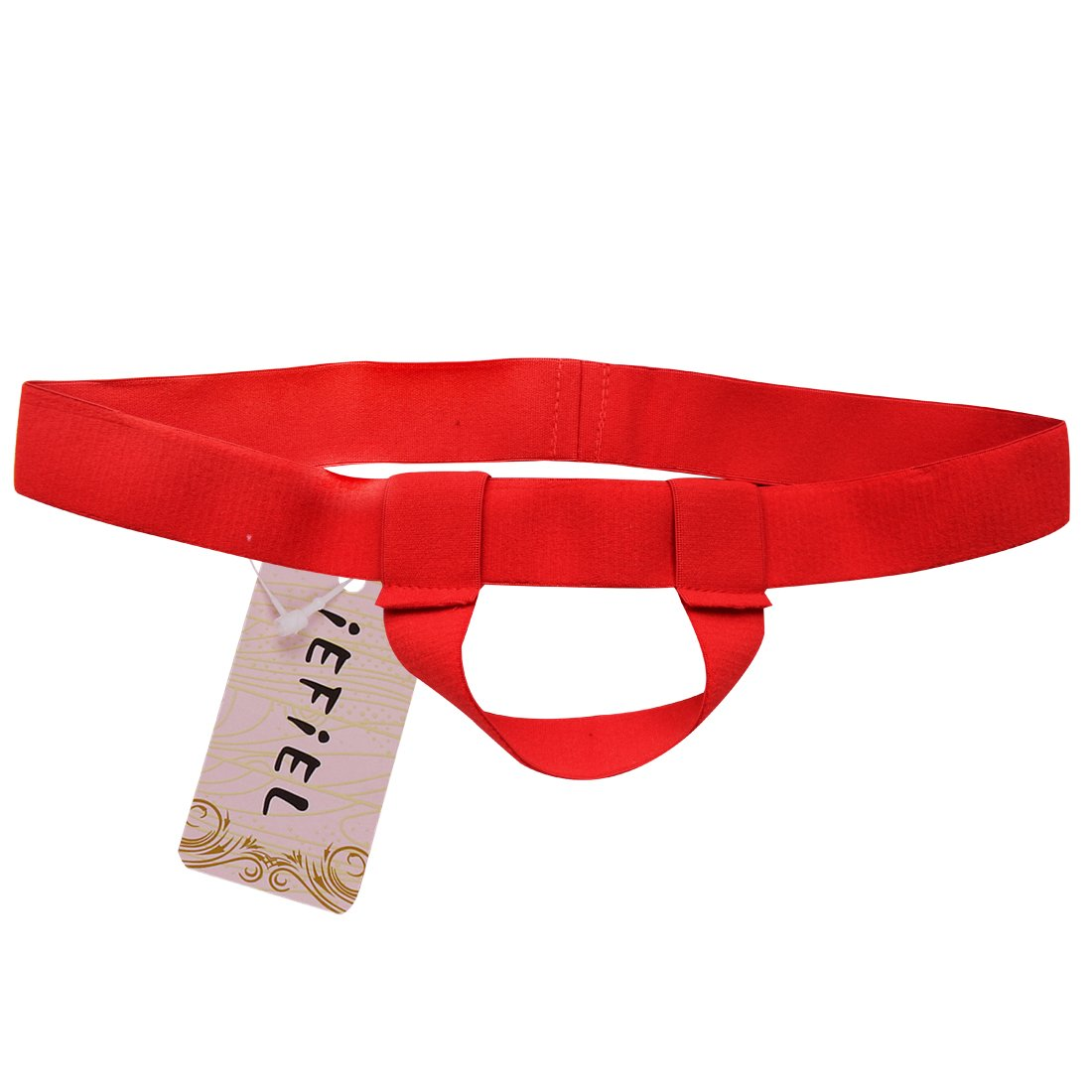 iEFiEL Mens Bare Back Sliding Ring Enhancing Strap Underwear Underpants T-Back (Red)