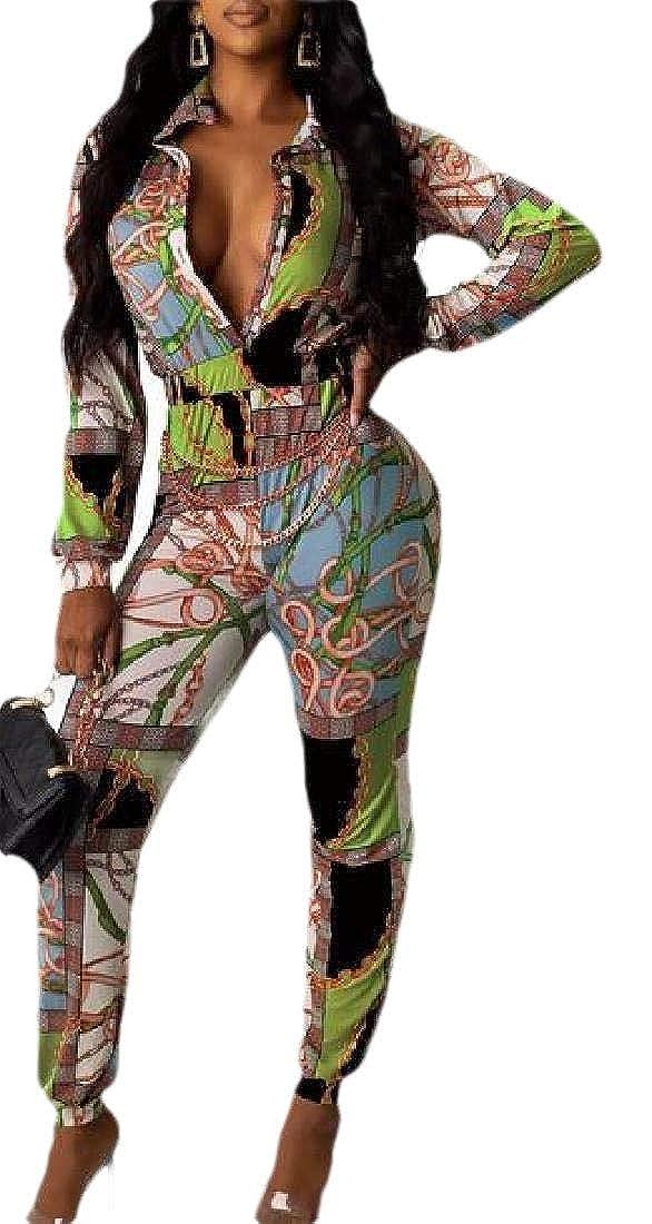 ZXFHZS Womens Deep V Neck Digital Printed Bodycorn Party Jumpsuits Clubwear