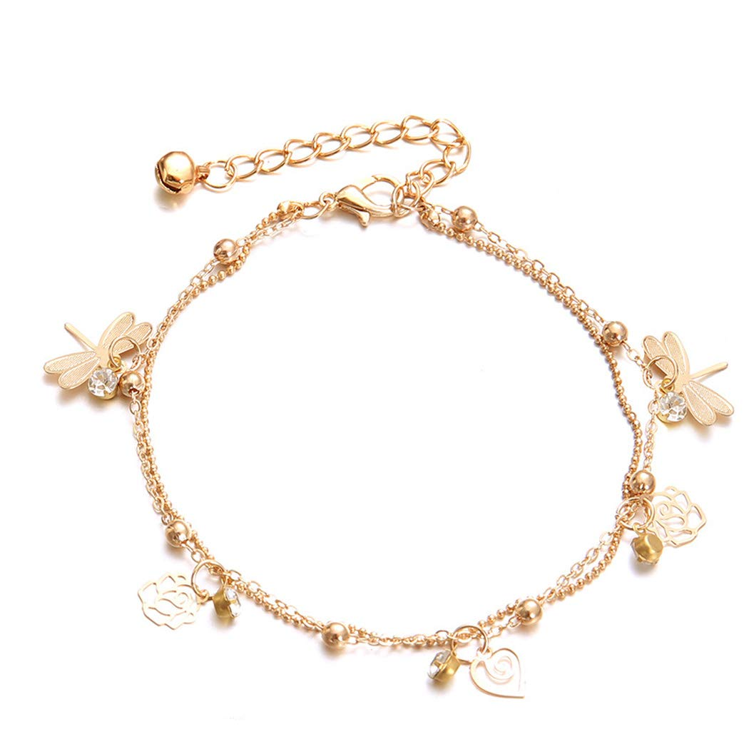Eternal-Z Women Dragonfly Rose Leaf Crystal Anklet Bracelet Fashion Beach Foot Chain Barefoot Sandal Adjustable Double Layer Beads Anklet Jewelry for Girls