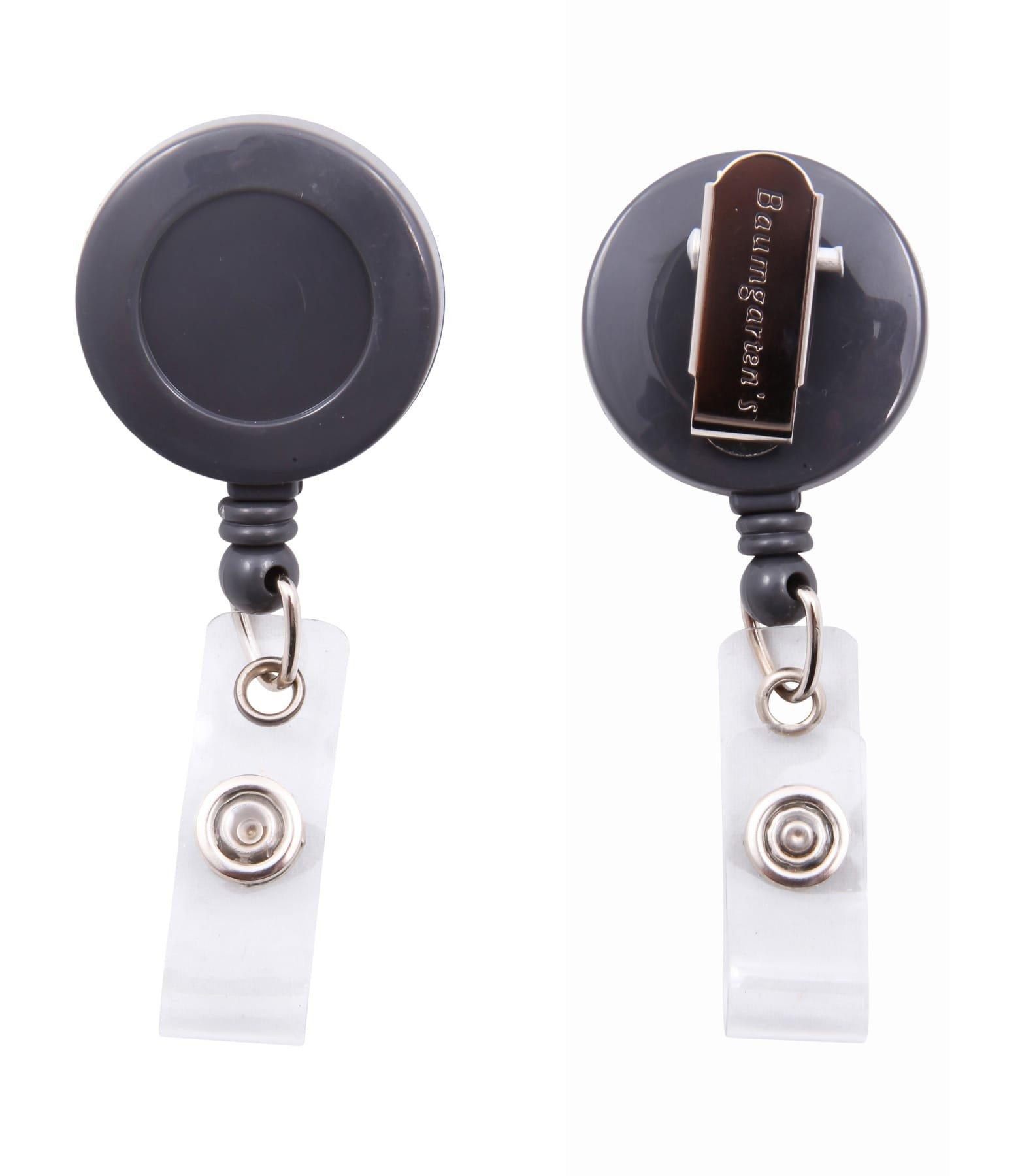 SICURIX Standard ID Badge Reel Round Swivel Spring Clip Strap 1 Each Grey (Pack of 600) (68840)