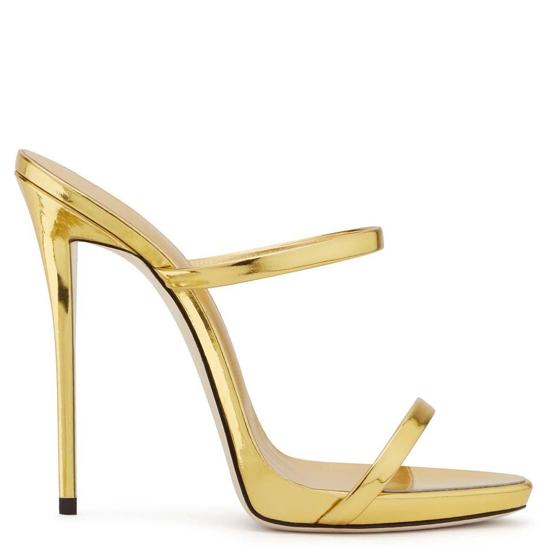 Zapatos De Gran Tamaño Oro Exquisito Y Champagne Party Zapatos Abiertos De Moda Sandalias De Tacón Medio Altas,#1,38 38