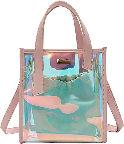 Yair Yangtze Transparent Holographic Purse Small Square Hologram Crossbody Purse Shoulder Bag for Women
