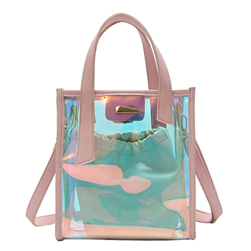 2e5bde083dd8 Image Unavailable. Image not available for. Color  Transparent Holographic  Purse Hologram Tote Bag 2 in 1 Shoulder ...