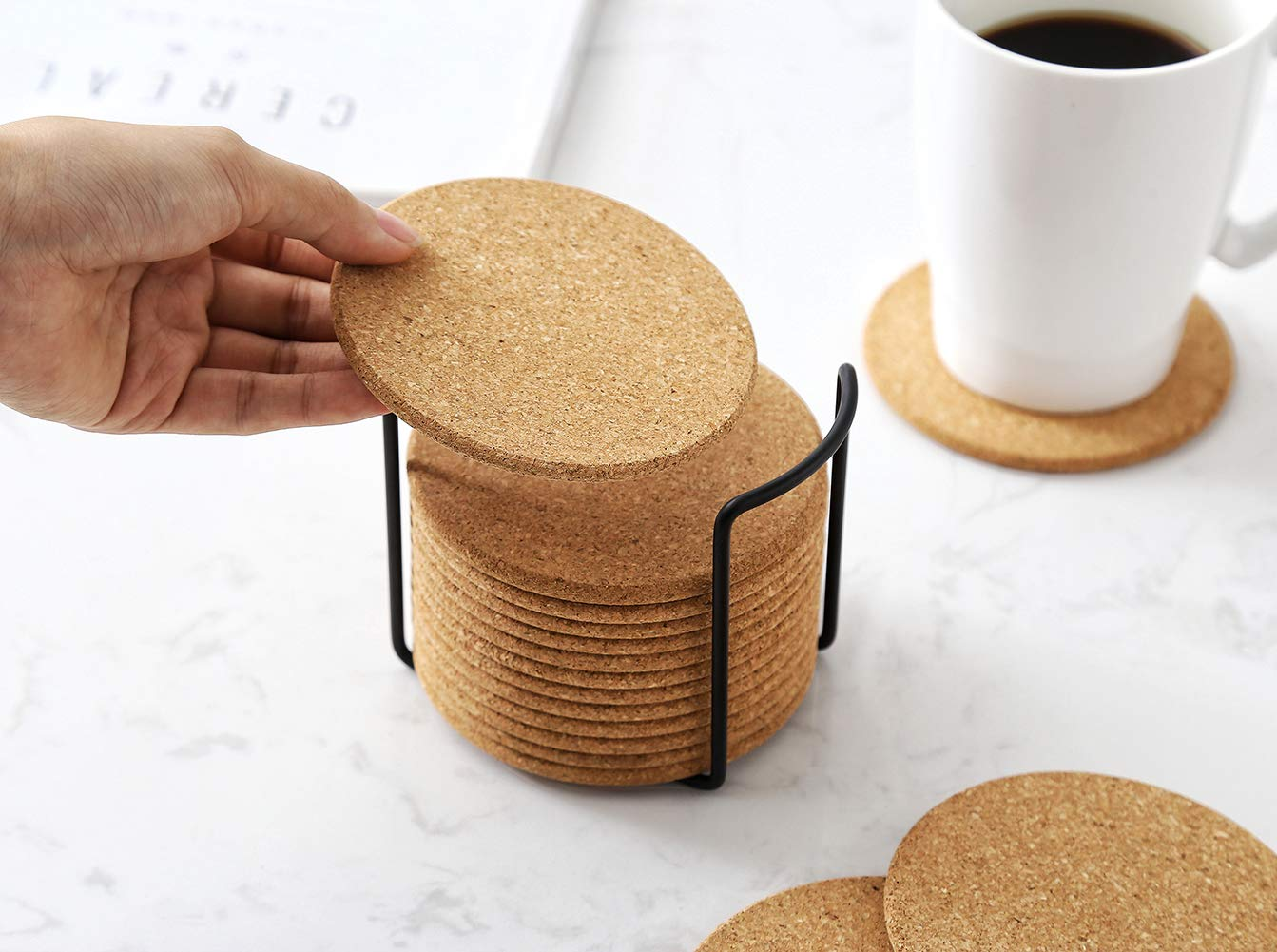 Reusable For Cold Drinks Cork Coasters With Metal Holder Storage 4 Diameter 1//5 Thick Round Edge Cups /& Mugs,Set of 16 GREAT USA STORE Wine Glasses Heat-Resistant