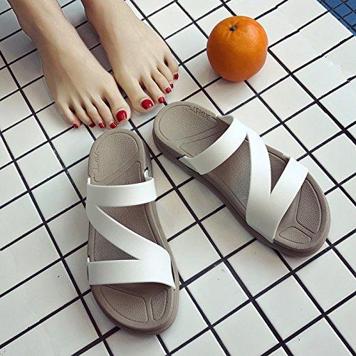 GAOLIM Suaves Y Cómodas Zapatillas Femeninas Zapatos Planos Zapatos Planos Zapatos De Mujer Con Mujer Verano Cool Arrastrar-Y-Soltar. Blanco