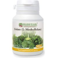 Folate (L-Methylfolate) 400μg x 90 Capsules - 5-MTHF Active Form of Folic Acid/Vitamin B9 - Supports Normal Maternal Tissue Growth During Pregnancy - PRENATAL- Magnesium Stearate Free - Made in Wales