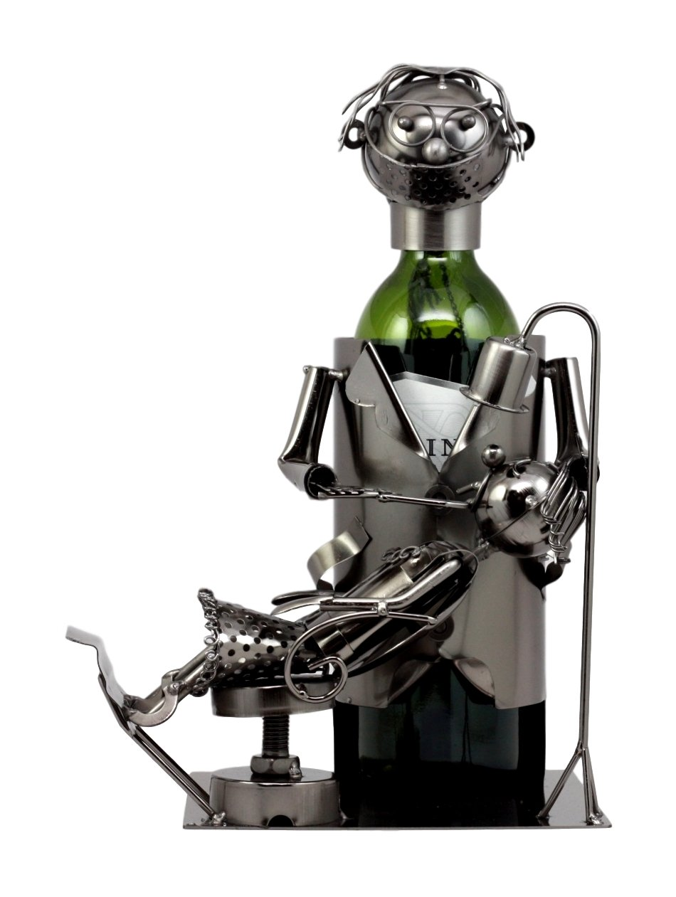 Atlantic Collectibles Lady Dentist Metal Wine Bottle Holder 12.5''H Hand Made Caddy Doctor Extracting Tooth From Child Sculpture by Atlantic