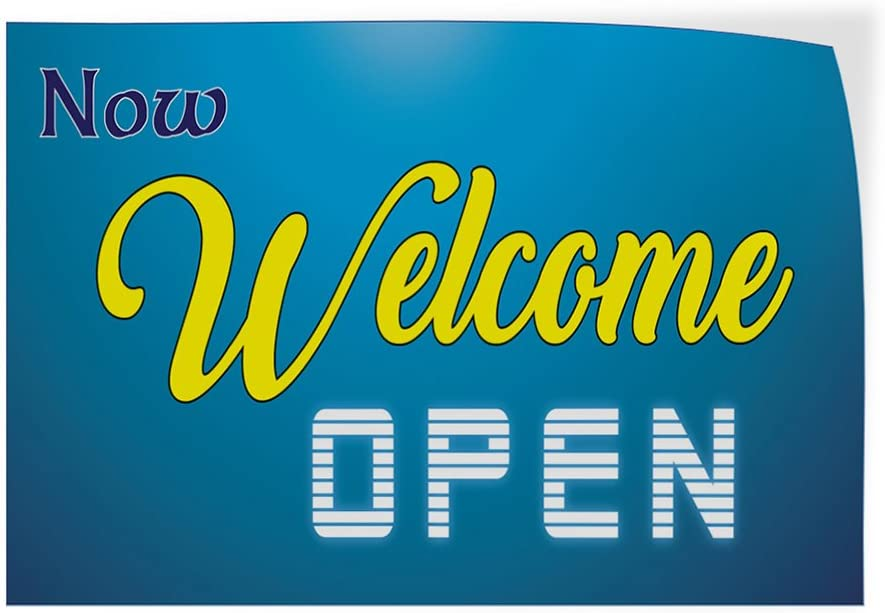 Decal Sticker Multiple Sizes Now Welcome Open Business Welcome Now Open Banner Outdoor Store Sign Aqua-Blue Set of 2 64inx42in