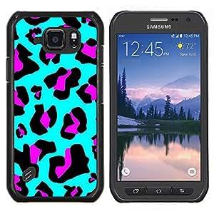 Caucho caso de Shell duro de la cubierta de accesorios de protección BY RAYDREAMMM - Samsung Galaxy S6Active Active G890A - Patrón de piel azul púrpura abstracto