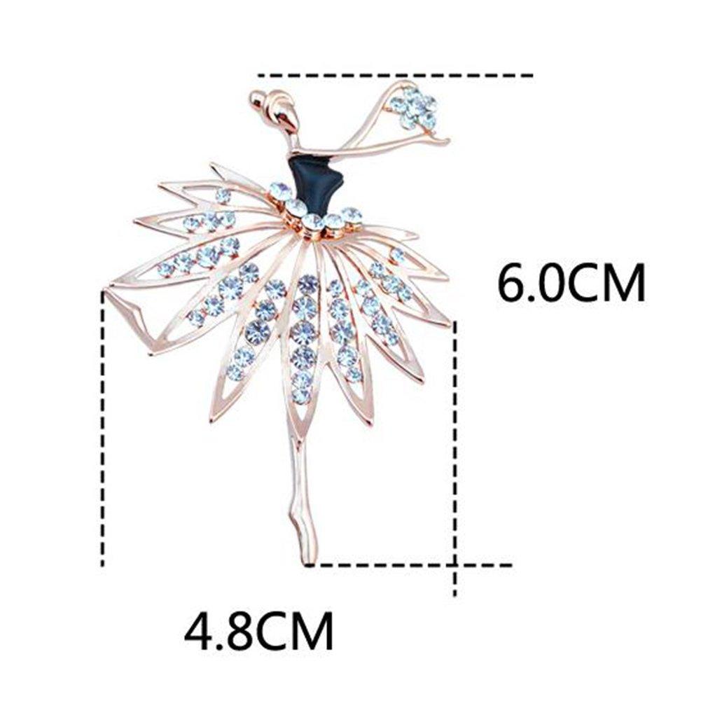 4,8 x 6 cm Cosanter Broche de Bailarina Broche de Ropa Broches para Vestidos Joyeria Mujer Broche para Regalo de navidad Negro