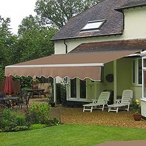 homgarden Patio Manual retráctil para toldo parasol toldo de puente, 8,2x 6,7pies (marrón)