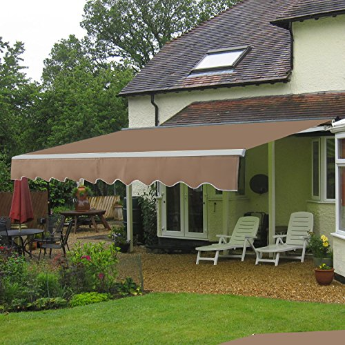 HomGarden Patio Manual Retractable Deck Awning Sun Shade Canopy 8.2 x 6.7 Feet (Tan & HomGarden Patio Manual Retractable Deck Awning Sun Shade Canopy ...