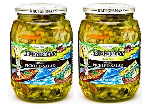 SHIPS FREE Get 2 (32 fl.oz) Jars Mixed Pickle Salad By Kruegermann (64 fl.oz)
