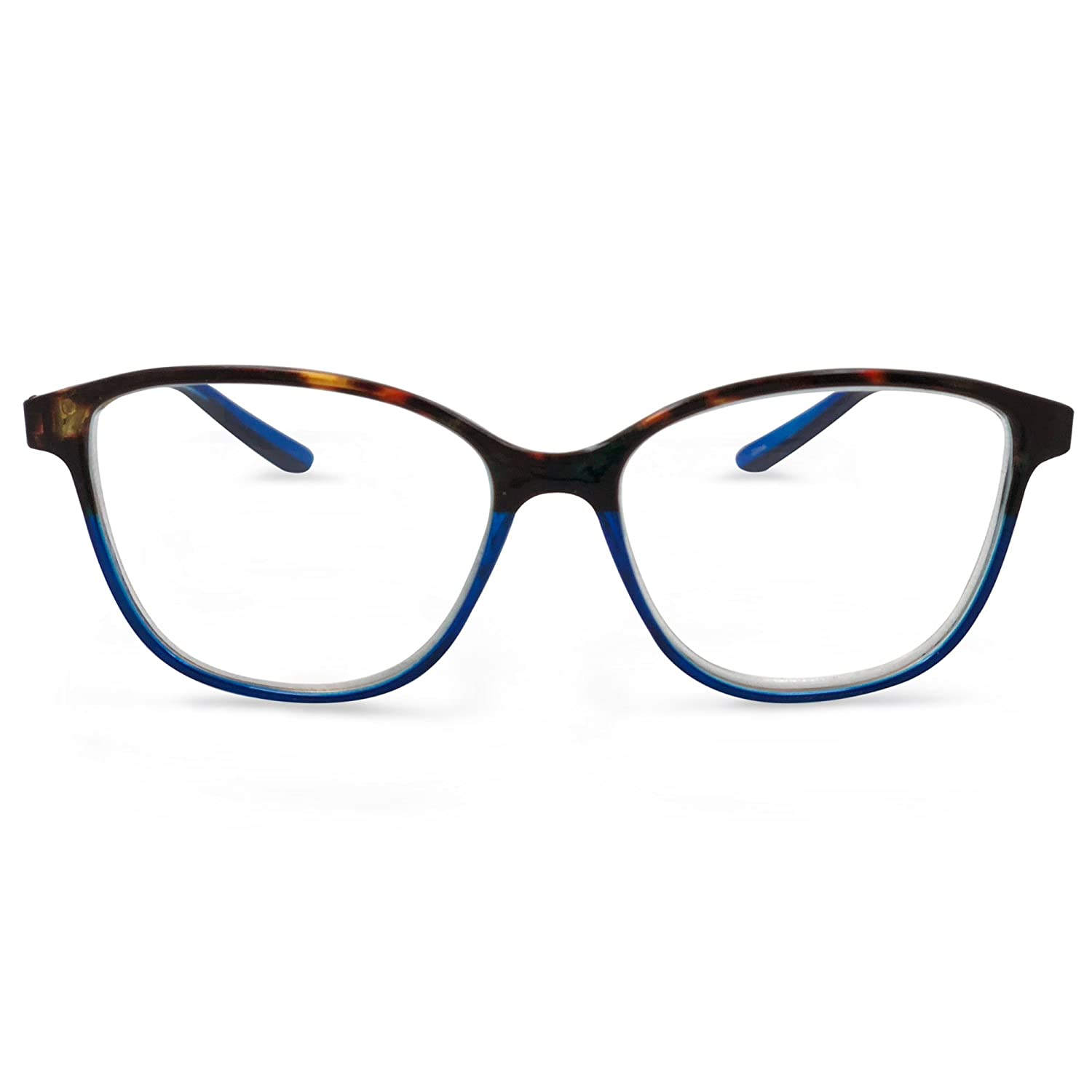 b83c932aee4e Amazon.com  In Style Eyes Cateye Two Tone Reading Glasses Tortoise Blue  1.00  Clothing