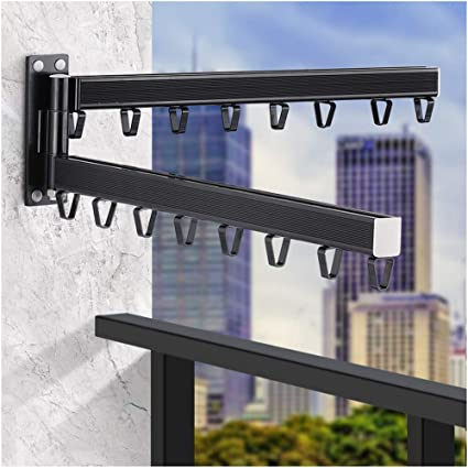 Lxltl Tendedero De Ropa Plegable Girar 180 Balcon Tendedero De Ropa Pared Retráctil Interior Invisible Estante Para Secado De Ropa Negro Amazon Es Hogar