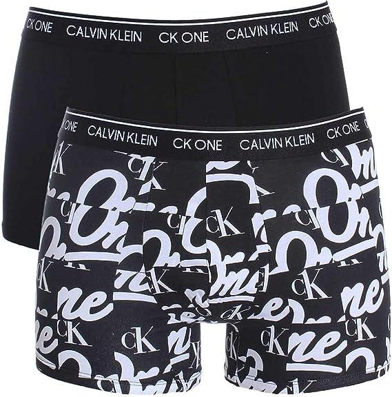 Calvin Klein CK Un Algodón Estiramiento 2 Paquete Tronco, Negro/Logotipo De Impresión: Amazon.es: Ropa y accesorios