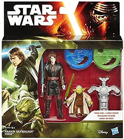 Amazon Com Star Wars Hasbro Revenge Of The Sith Forest Mission Anakin Skywalker Yoda Firing Disc Figure Pack Toys Games