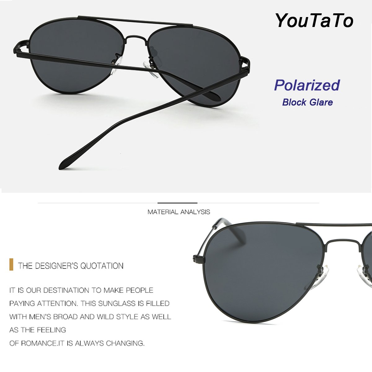 f0e2cd6165 Youtato Adult Polarized Sunglasses Fashion Mirror Lens Metal Frame UV400  Black at Amazon Men s Clothing store