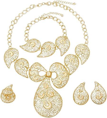 Hoja de oro de tono collar y pendiente conjunto