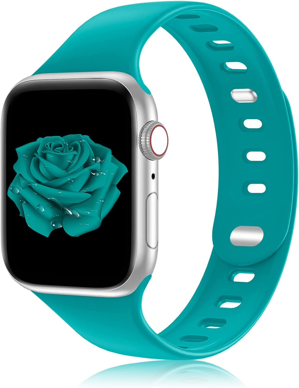 iWabcertoo Sport Silicone Band Compatible with Apple Watch Band 38MM 40MM 42MM 44MM Women and Men,Unique Double Nail Design Soft Bands for iWatch Series 6 5 4 3 2 1 SE