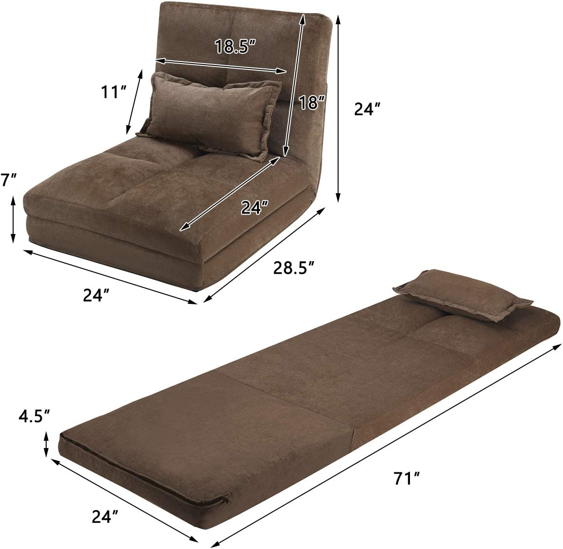 Giantex Triple Fold Down Sofa Bed, Adjustable Floor Couch Sofa with One Pillow, 6 Reclining Position, Convertible Upholstered Guest Sleeper, Modern Folding Lounge Chaise for Living Room and Bedroom