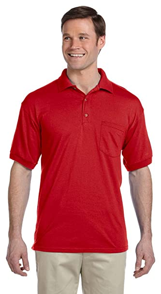 3f0778ec Gildan DryBlend 6 oz., 50/50 Jersey Polo with Pocket, Large, RED at ...
