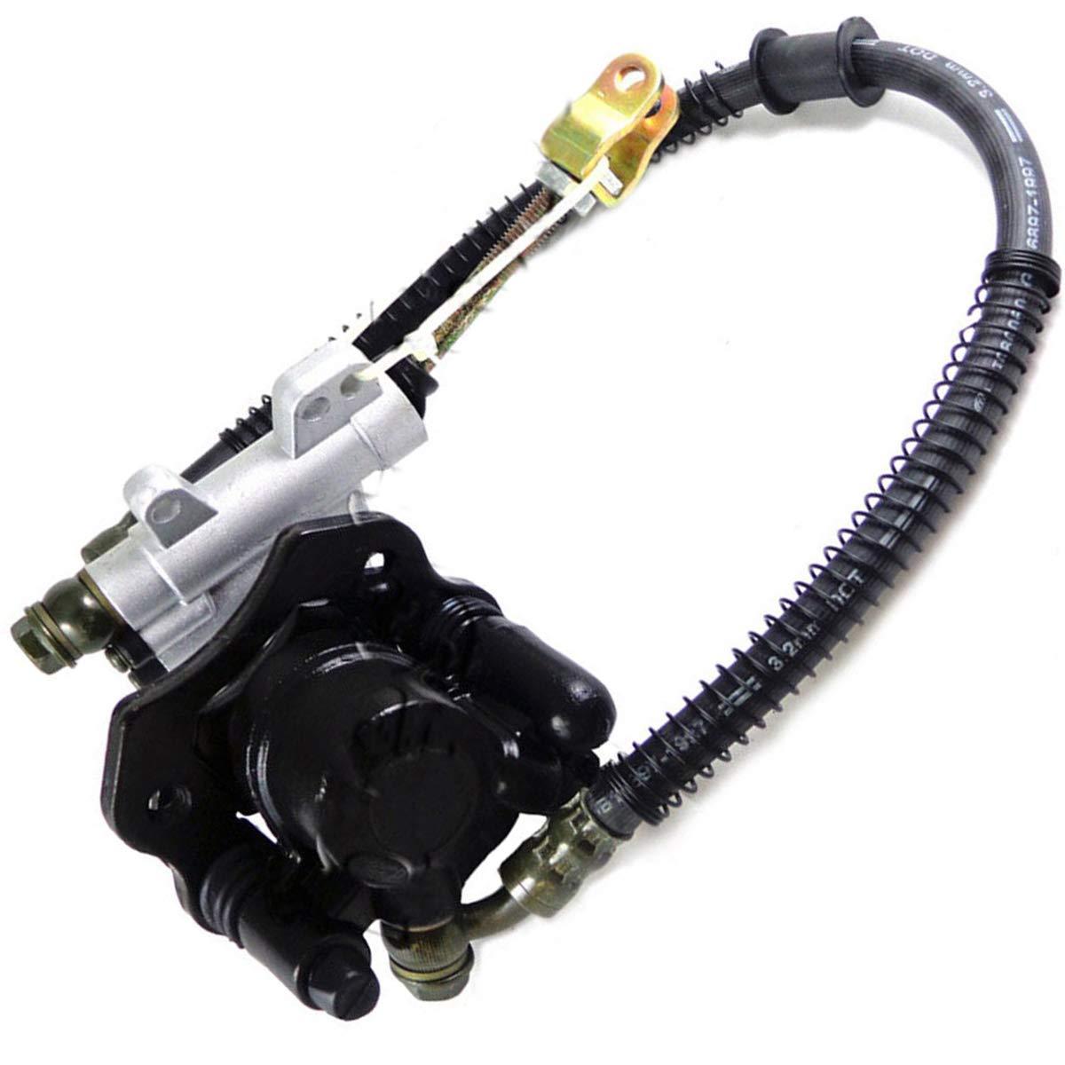 Rear Hydraulic Brake Master Cylinder Caliper Assembly with Pads for 50cc 70cc 90cc 110cc 125cc ATV Quad Taotao Sunl Roketa NST