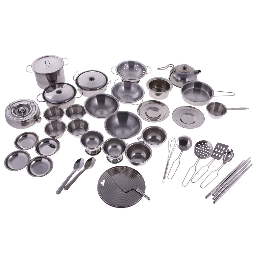 Toygogo 40PCS Stainless Steel Cookware Playset - Kids Play Kitchen Toy Accessories