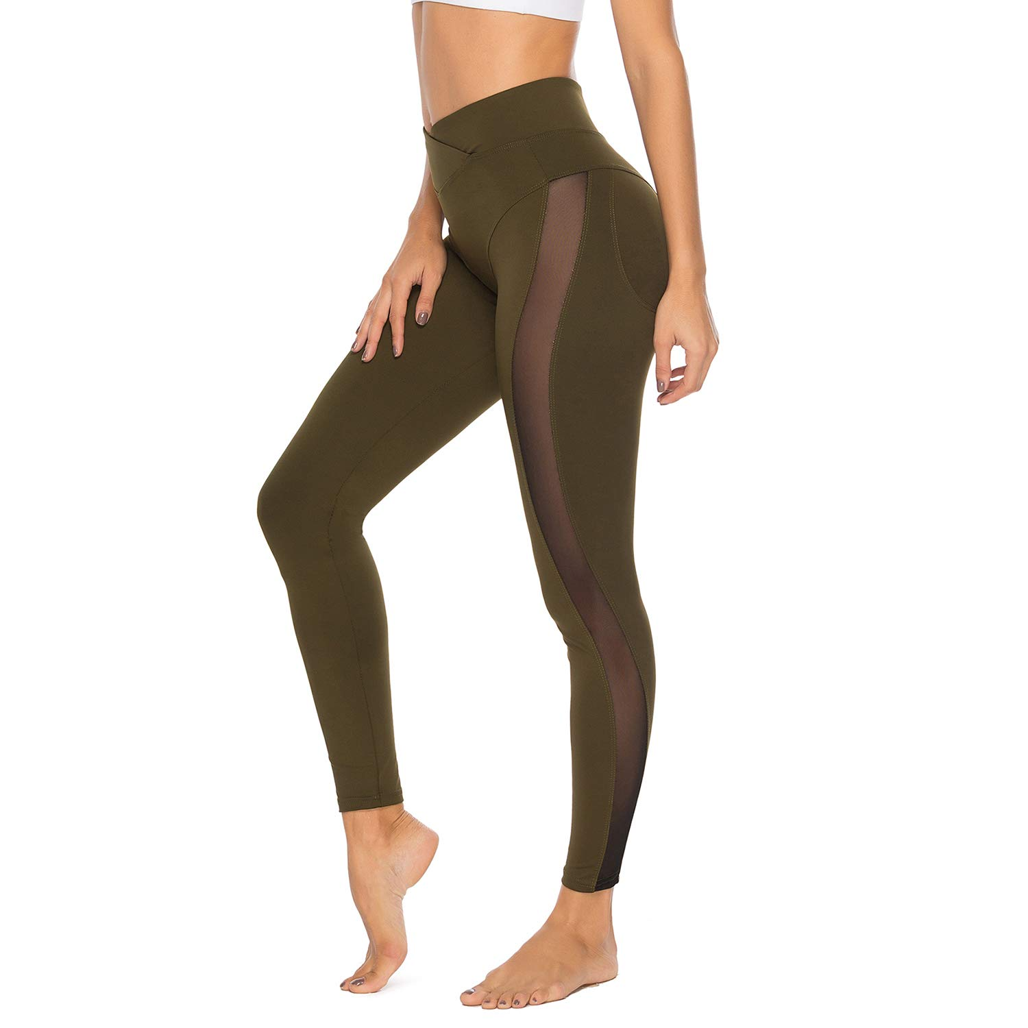 22c402f1ce4b6e FITTOO Women's Mesh Workout Leggings Panel Sheer Yoga Pants Gym Tights at  Amazon Women's Clothing store: