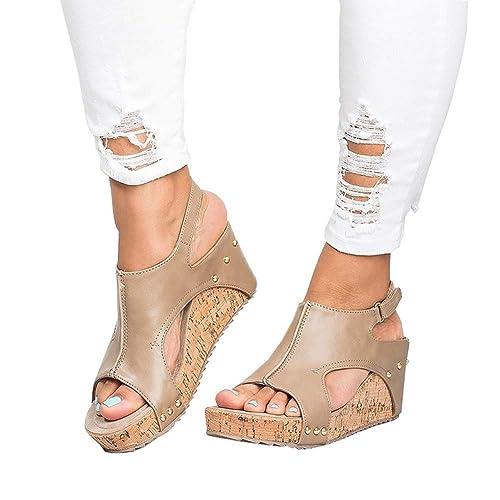 Sandalias Mujer Cuña Alpargatas Plataforma de Tacón Alto Flip Flop Verano Elegante Zapatos Zapatillas Romanas Gladiador Mares Playa Negro Beige 34-43 BG43: ...
