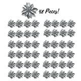 Silver Glittered Poinsettia Ornaments – Set Of 48 – Christmas Clip-On Decorations – Approximately 3 3/4″ Diameter – Silver Glitter Festive Holiday Decor Review