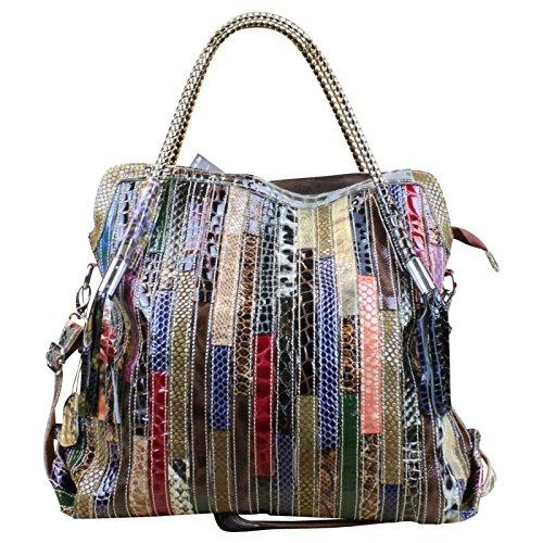 Made in Italy Damen Henkeltasche Schultertasche XL Shopper Bag Echt Leder Leder