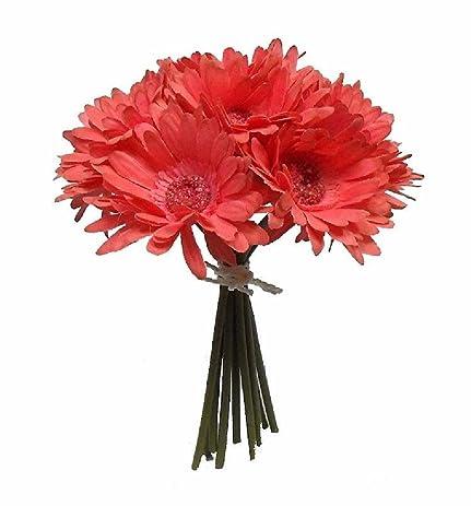 Amazon.com: Coral Reef Gerbera Daisy Bridal Bouquet Salmon Wedding ...