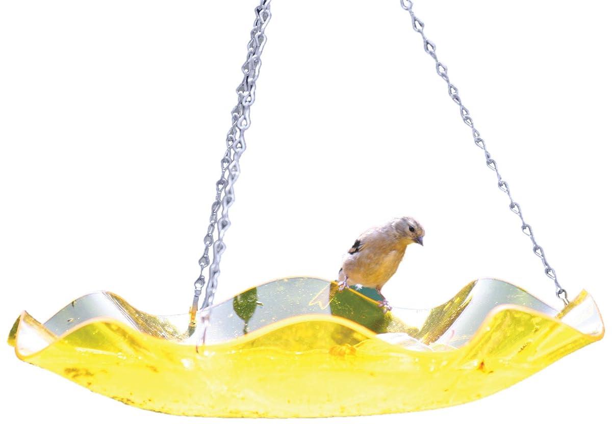 Birds Choice Hanging Acrylic Bird Bath, Yellow