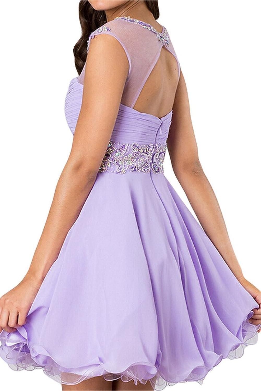 Gorgeous Bride Zaertlich Mini Chiffon Tuell A-Linie Abendkleider  Cocktailkleid Partykleid: Amazon.de: Bekleidung