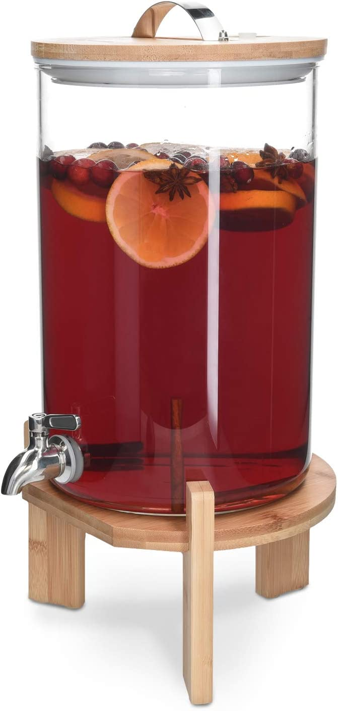 Navaris Beverage Dispenser with Stand - 1.8 Gallon (7L) Glass Drink Dispenser with Spigot, Lid, Wood Stand for Hot or Cold Drinks, Ice Water, Parties