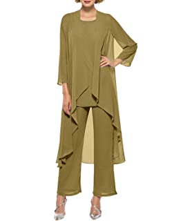 7cea51298df Women s Chiffon Pant Suits Mother of The Bride 3 Pieces Long Jacket Dress  Party Outfits