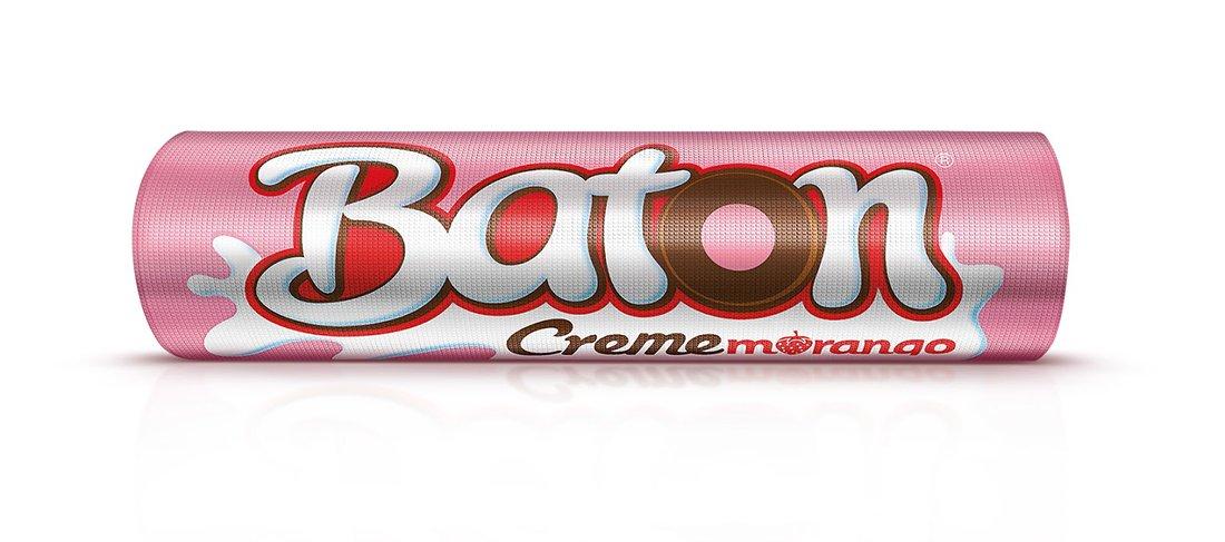 Baton Garoto Creme Morango (Chocolate with Creamy Strawberry Flavour) Milk Chocolate 30x0.56oz. -480g