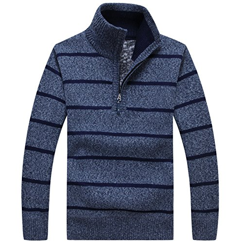 Knit amp;X Station Sweater High Jacket Collar Blue Casual qin Zipper Cardigan Coat CXQ Men's Semi Sweater nRAxWCRq