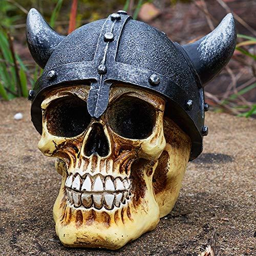 (Inveroo Statues Africa Home Decor Skull for Decoration Rome Warrior Ox Horn Helmet Human Resin Skull Skeleton Sculptures Art)