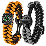 "A2S Dare2 Survival Bracelet - Pack of 2 – Stylish Survival Gear Kit with Compass, Fire Starter, Emergency Knife - for Camping Hiking Outdoors Emergency Preparedness (Gray / Orange, Medium 8.5"")"