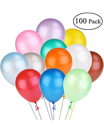NUOLUX 12 Inch Assorted Bright Color Latex Balloons 100pcs Random