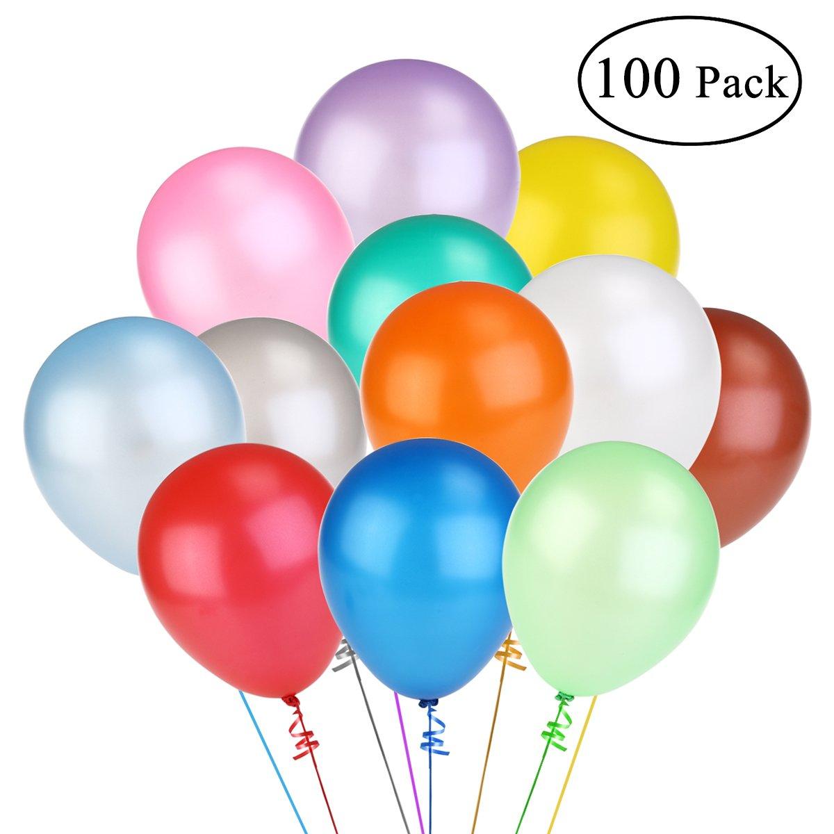 NUOLUX Assorted Bright Farbe Latex Balloons 12 Inch 100pcs(Random Farbe)